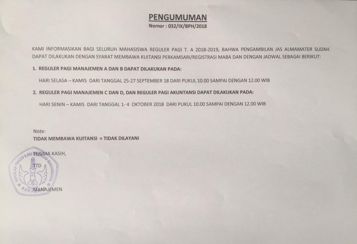 Pengambilan Jas Almamater TA 2018-2019 Sudah Dibuka
