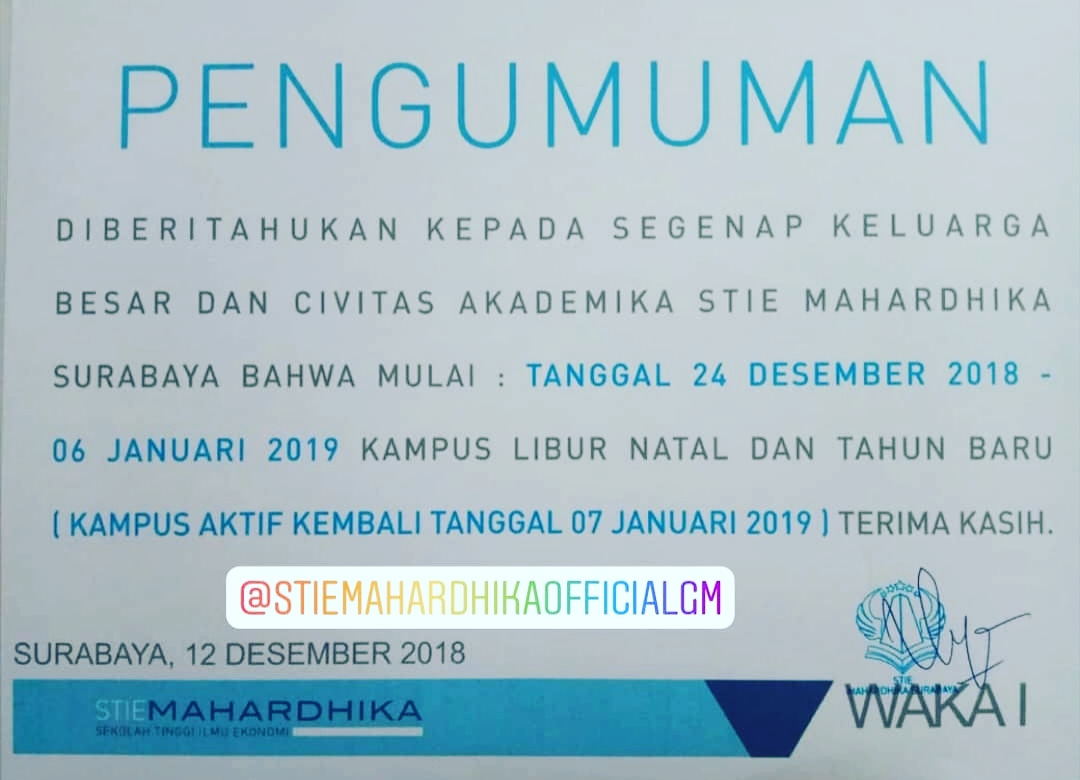Kalender Akademik Akhir Tahun 2018