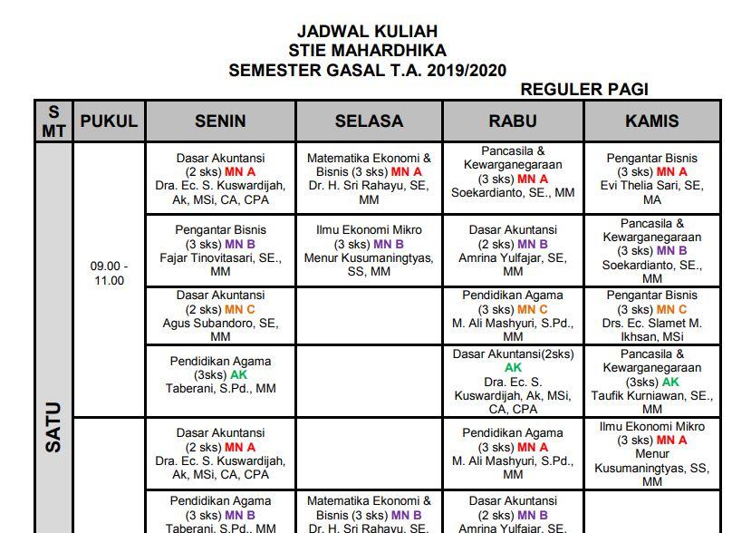 Jadwal Kuliah 2019-2020