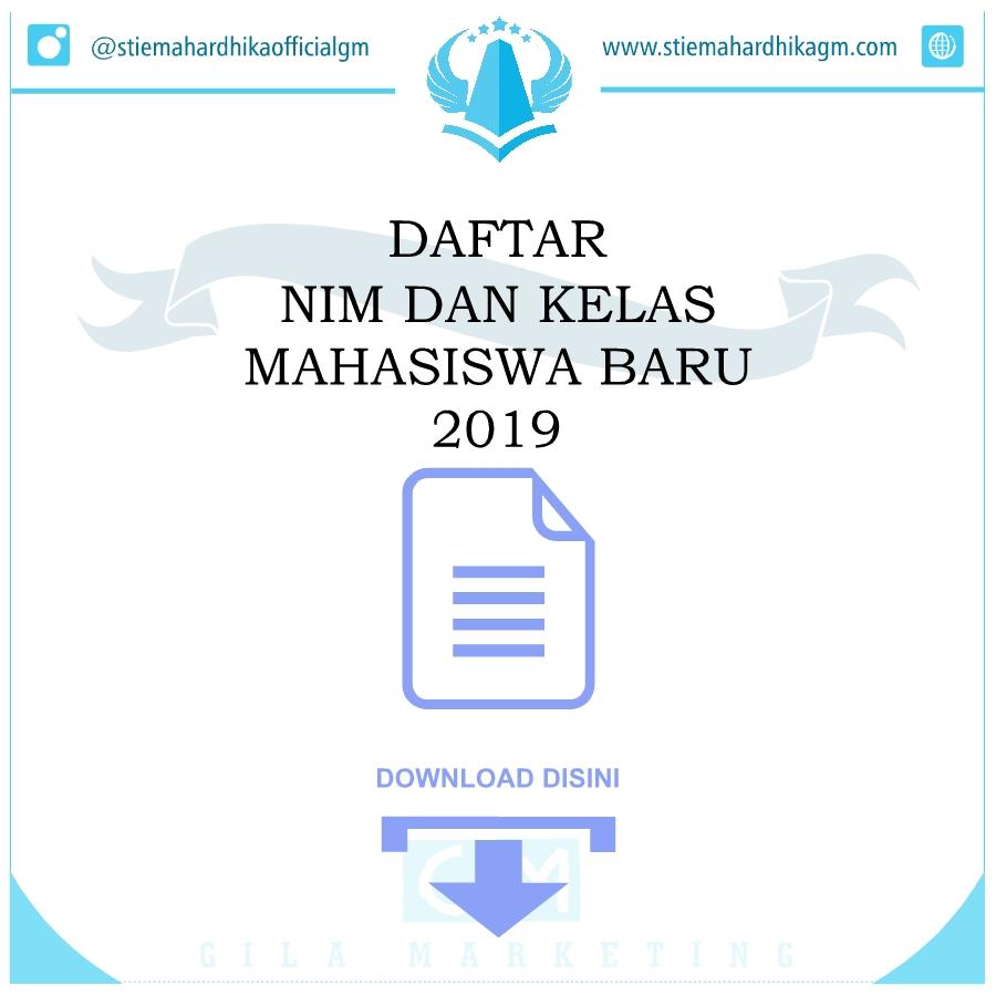 Daftar NIM dan Kelas Mahasiswa Baru 2019