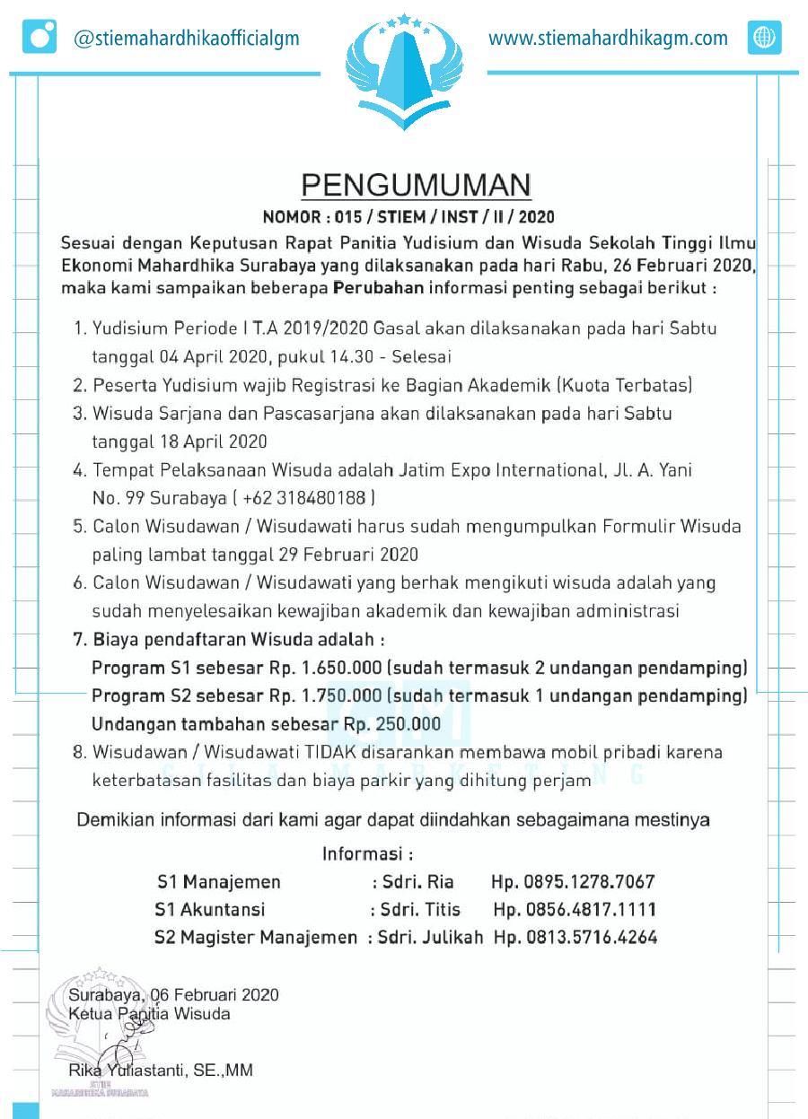 Revisi Informasi Seputar Yudisium