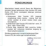 Pelaksanaan ujian susulan UTS