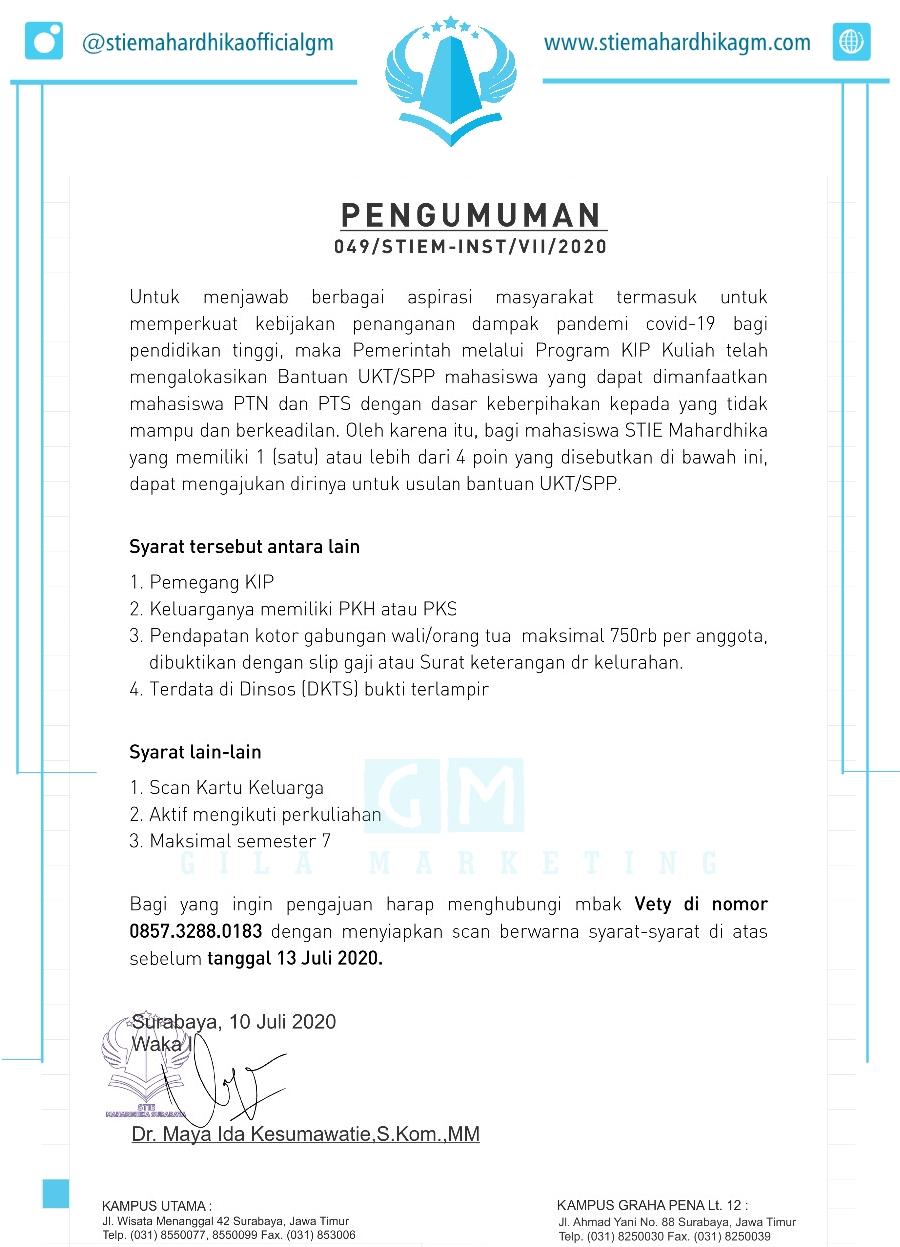 Syarat Pengajuan Bantuan Potongan UKT/SPP